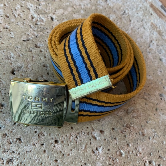 Tommy Hilfiger Gold Yellow and Blue Woven Belt